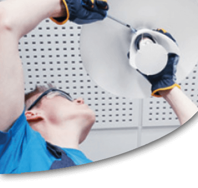 engineer installing led lighting